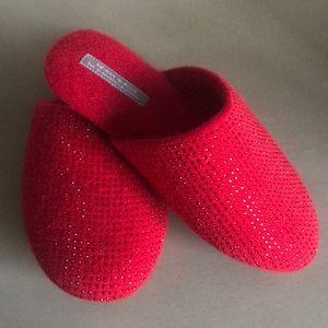 NWOT Cashmere Rhinestone-Studded Slippers